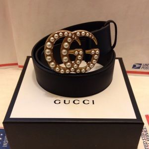 Other - Gucci black leather pearl gg buckle belt